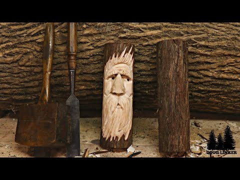 WoodSpirit Woodcarving Practice - Carving A Face in a Cedar Log