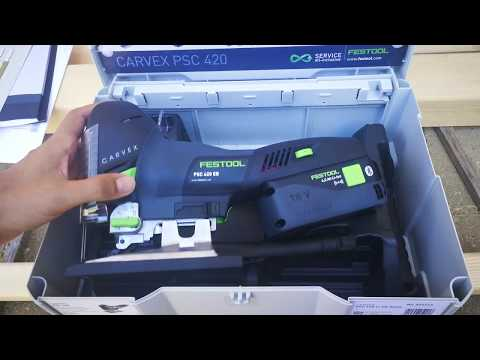 Unpacking / unboxing Cordless pendulum jigsaw Festool PSC 420 Li EB-Basic CARVEX 574713