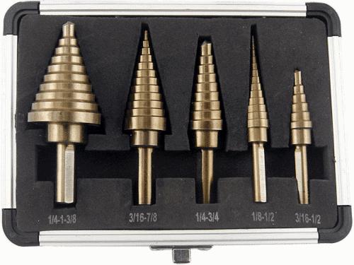 CO Z 5pcs Hss Cobalt Multiple Hole 50 Sizes Step Drill Bit Set