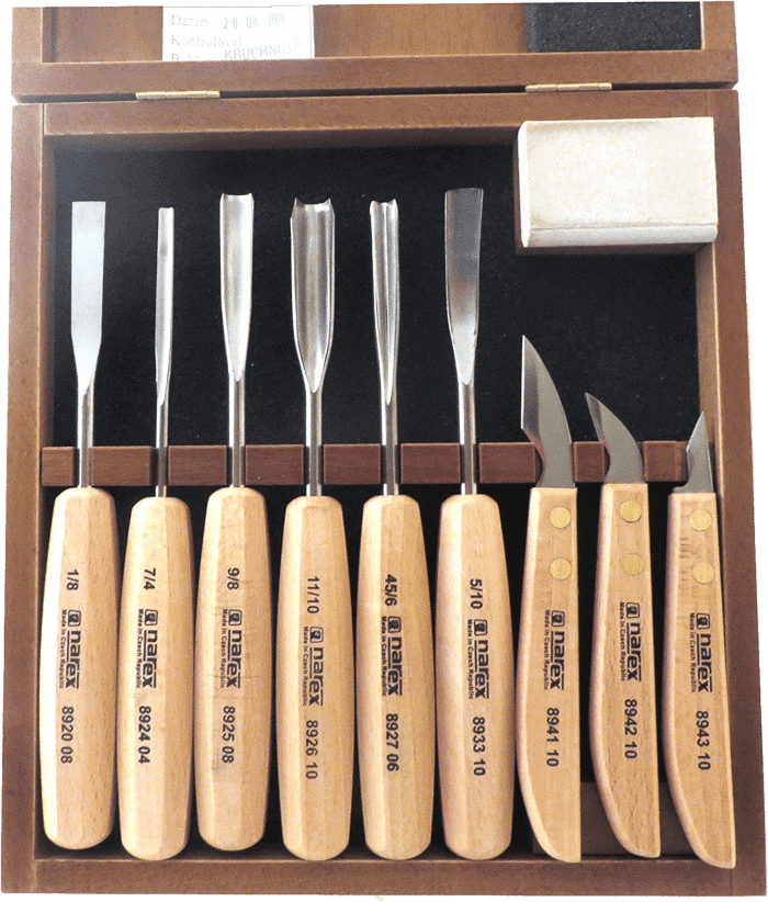 Narex Chisels 9 Piece Carving Chisel Set in Wood Box