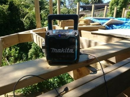 Using my makita bluetooth Speaker While Building a Deck