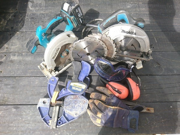 Skill saw clamps and saftey gear