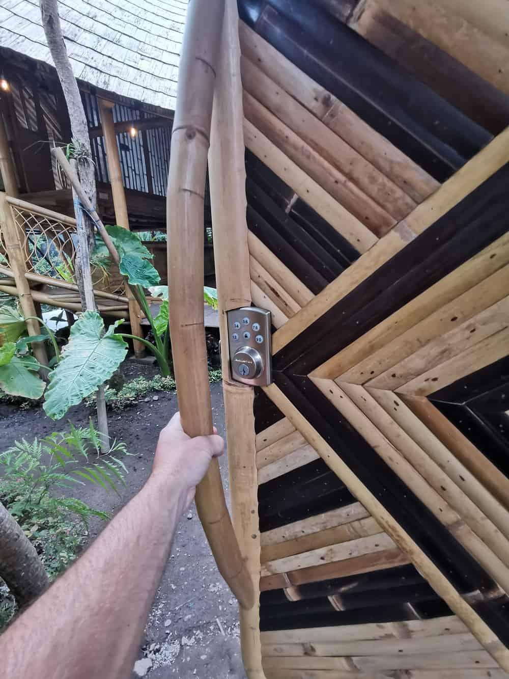 Keyless deadbolt on bamboo door