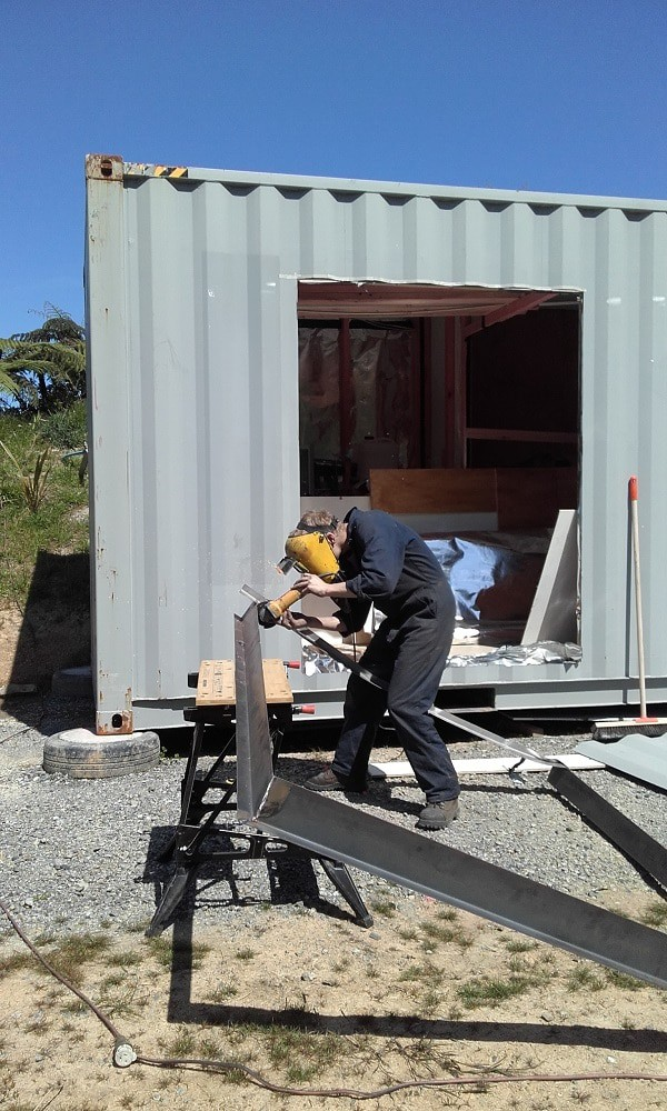 Cut hole in shipping container