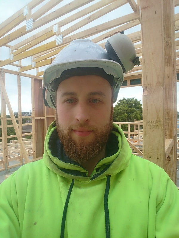 Aaron on building site