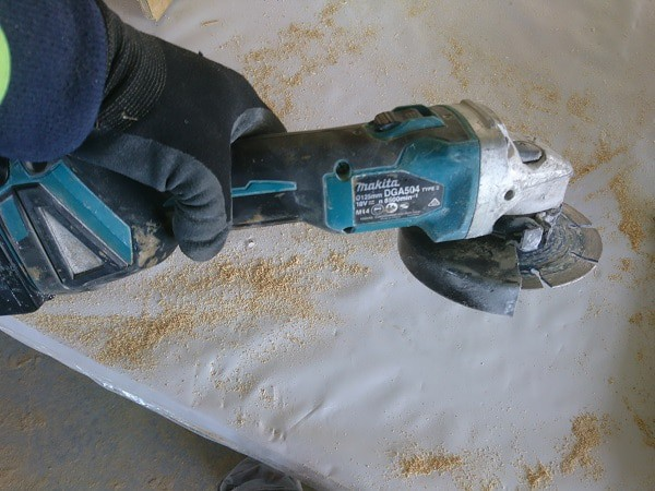 Me using makita cordless angle grinder