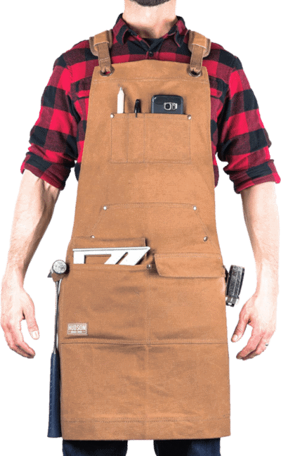 Hudson Woodworking Waxed Canvas Tool Apron Brown
