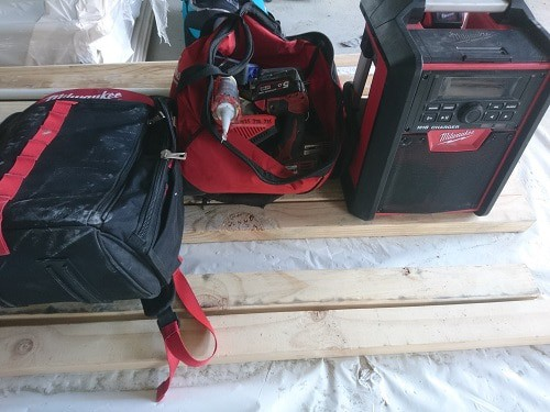 Milwaukee tool bag, jobsite radio and tool backpack