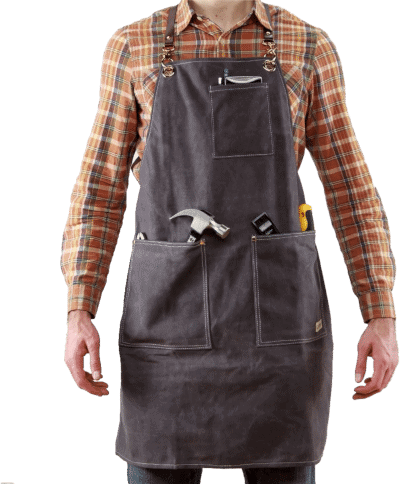 Versatile Waxed Canvas Genuine Leather Woodworking Apron