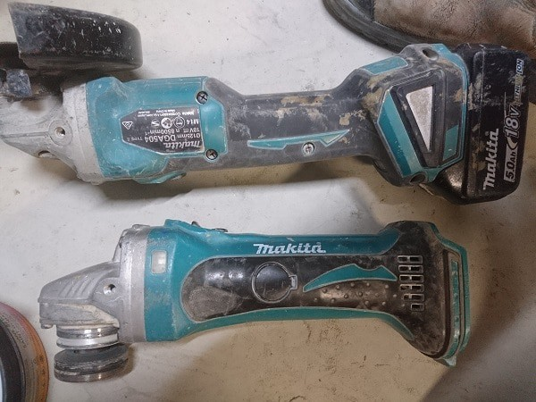 Comparing new and old cordless grinder