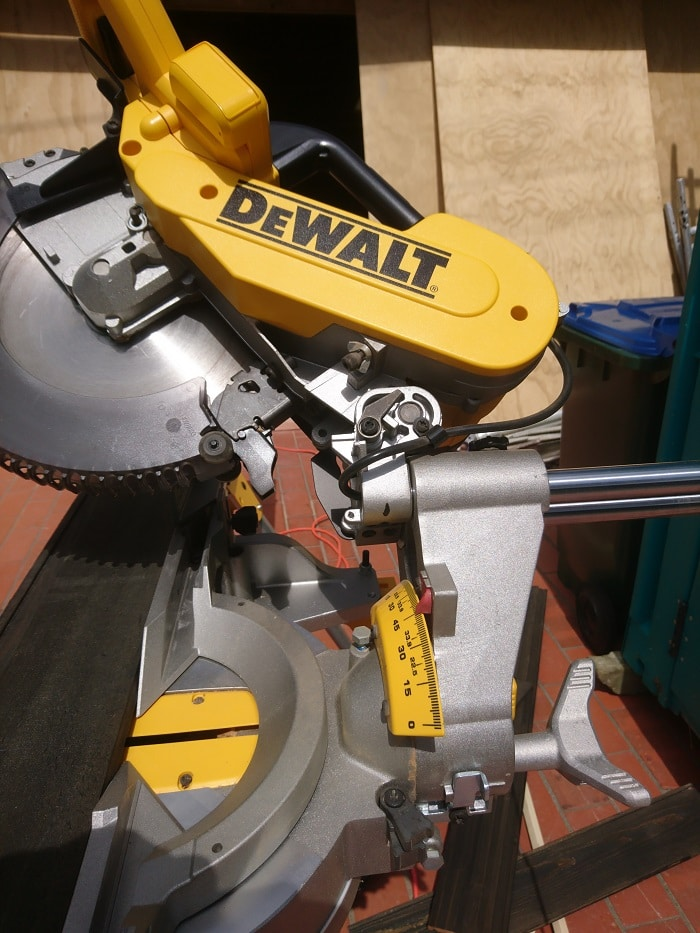 Cutting weather boards on angle with drop saw