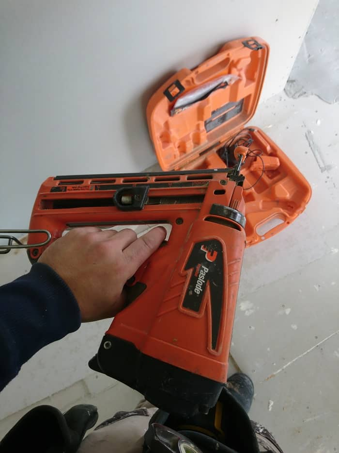 Gas Powered Finishing Nailer Out Of Box