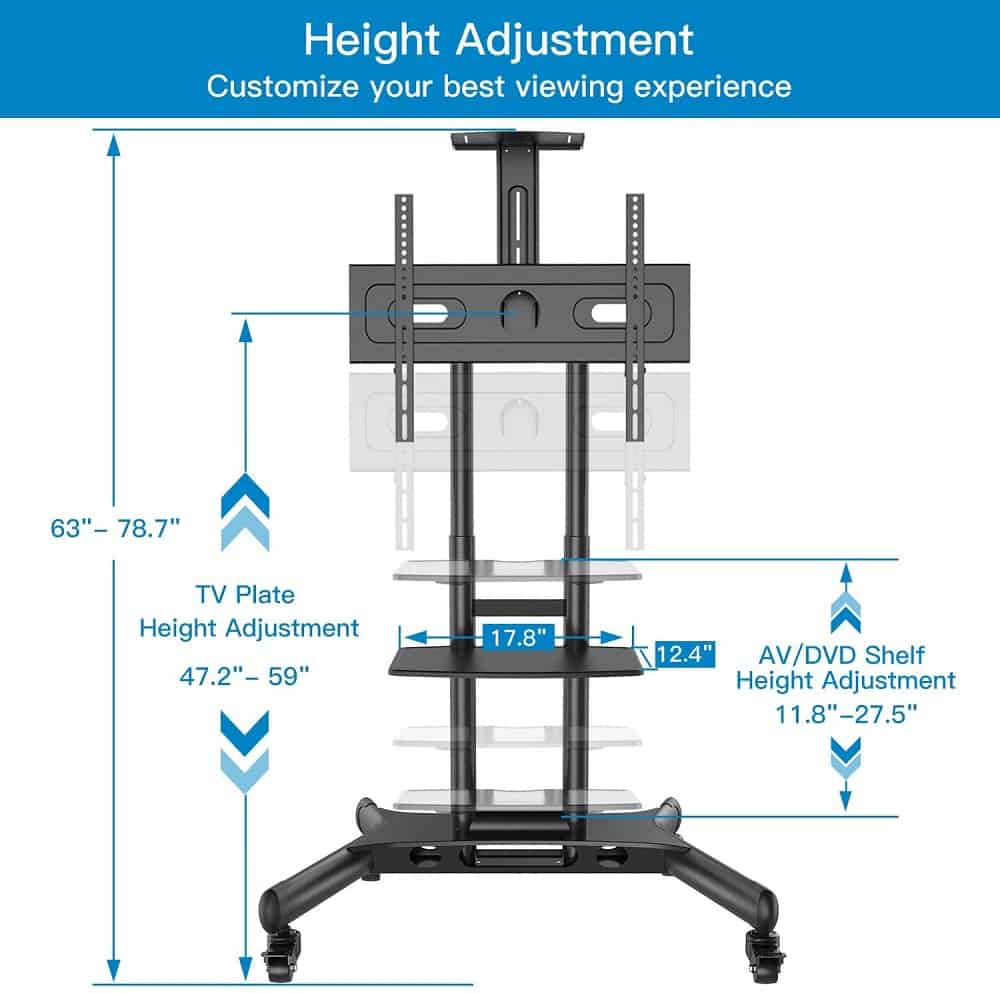 Hieght adjustment on rolling tv mount