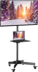 Mobile TV mount for 23 55 Inch TVs adjustable shelf stand holds up to 55lbs