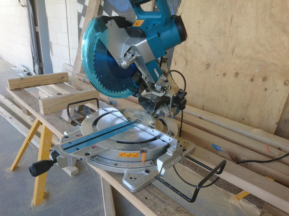 Makita miter saw on building site