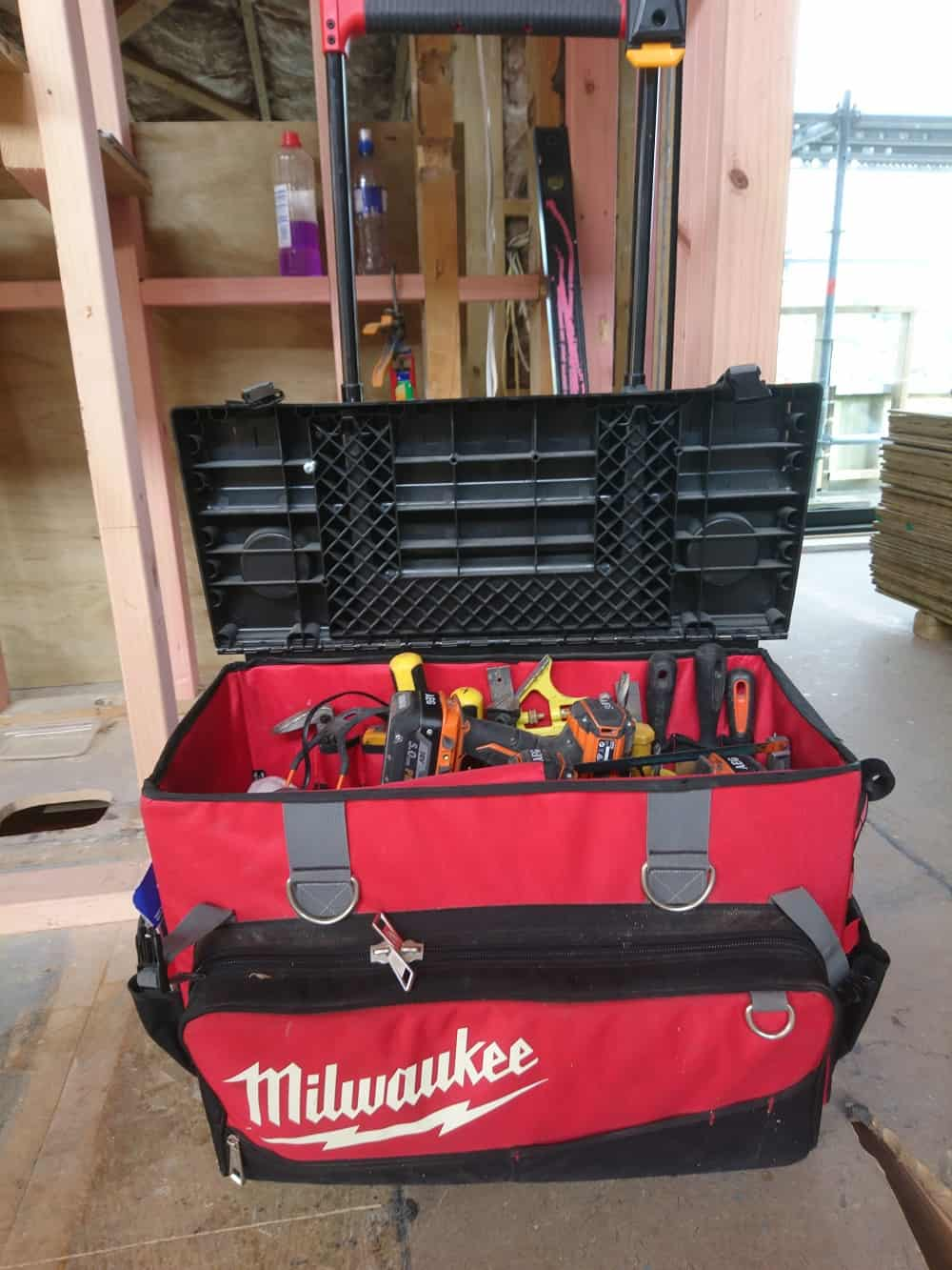 Milwaukee rolling toolbag on bulding site