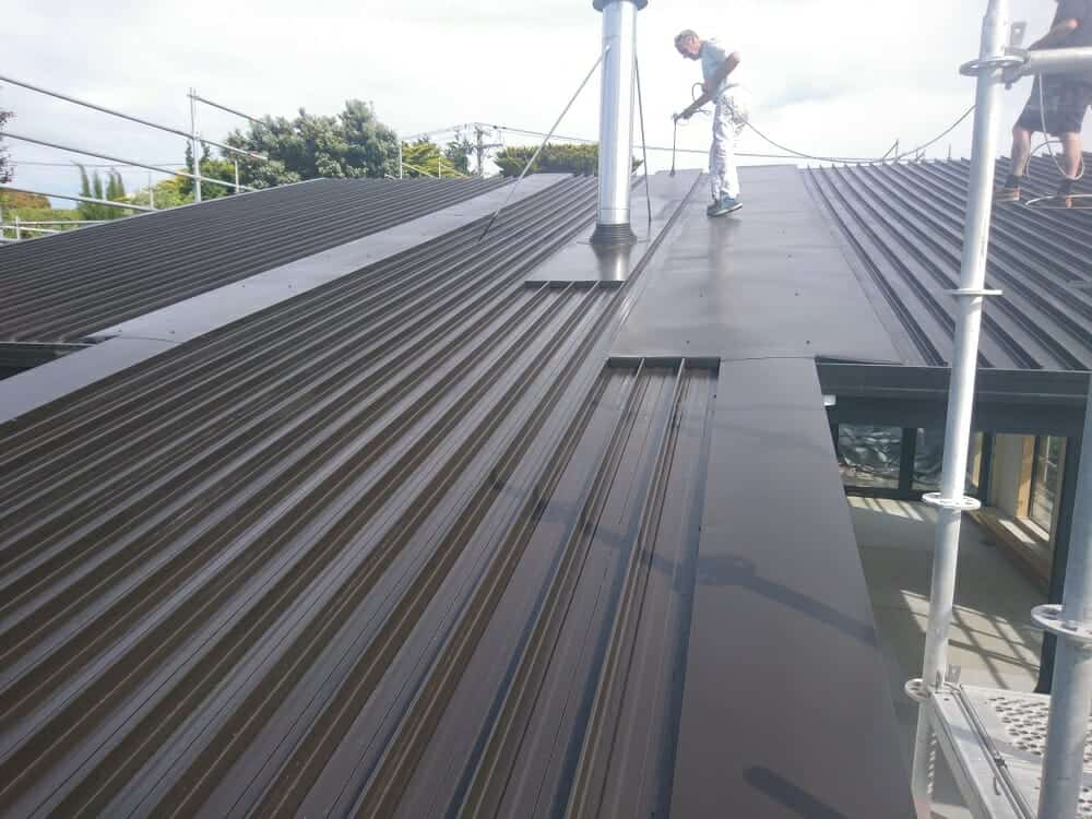 Painting an old roof