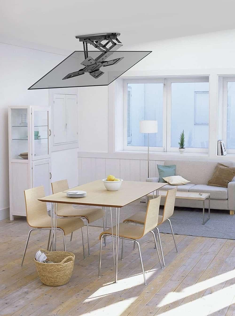 Moterized flip down tv mount in the kitchen