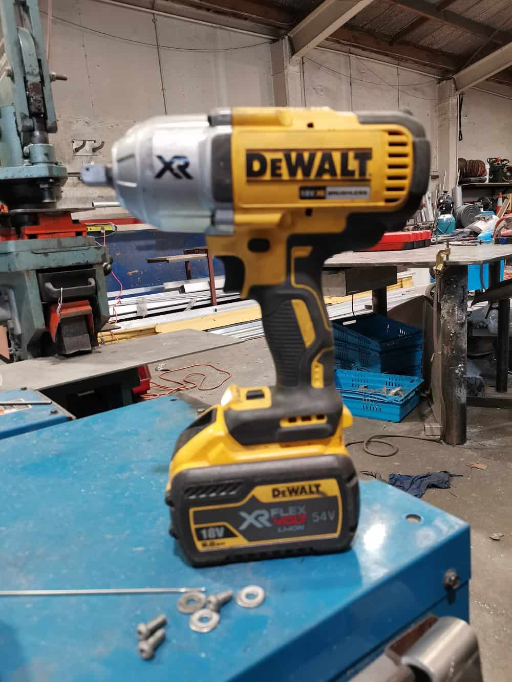 The Dewalt cordless impact wrench in the workshop