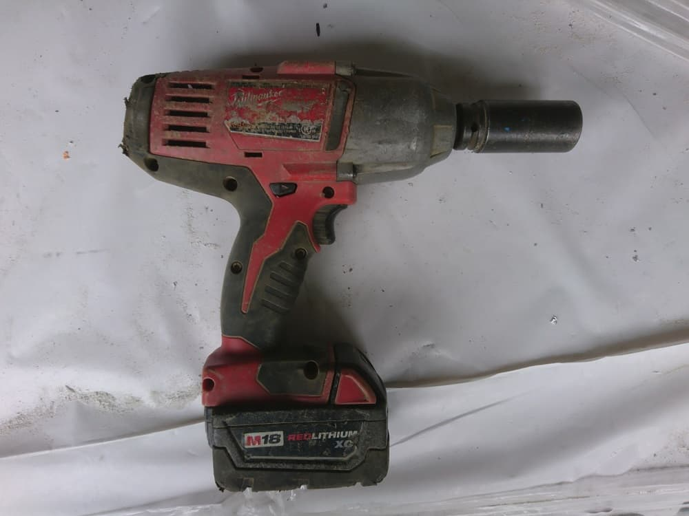 The Milwaukee impact wrench on building site