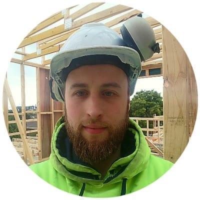 Aaron with hard hat on