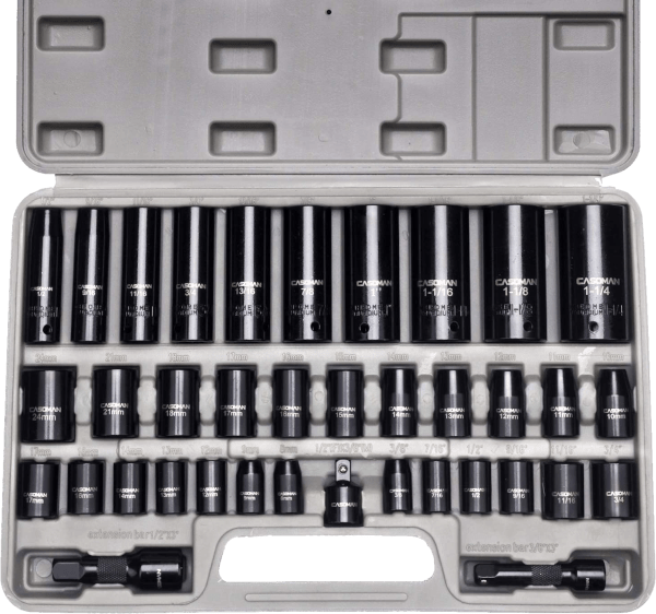 Casoman Complete 35 pcs 3 8 in SAE metric impact socket sets