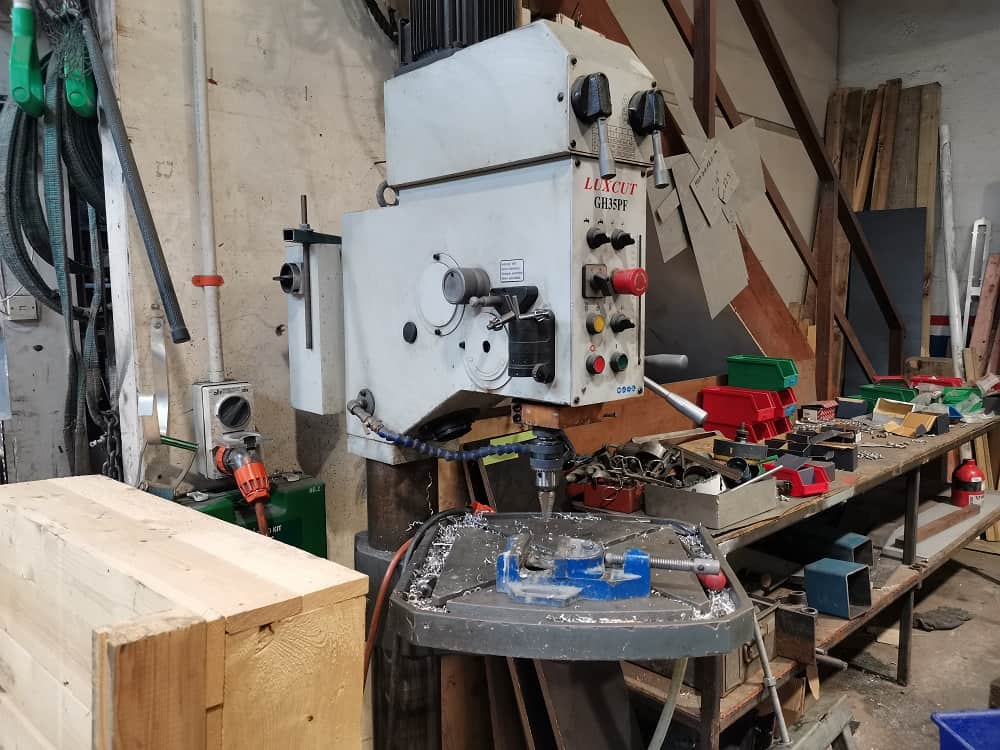 Drill press in workshop