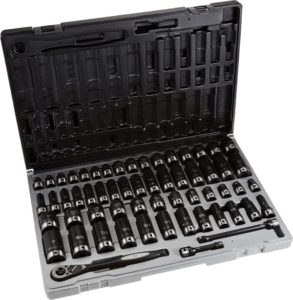 Grey Pneumatic 81659CRD 56 pcs 3 8 in SAE metric impact socket sets with hand ratchet
