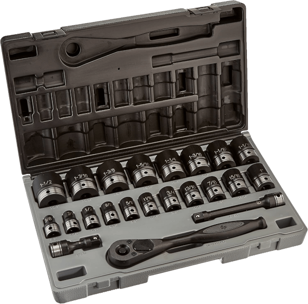Grey Pneumatic 82622 18 pcs 1 2 in SAE impact socket sets with hand ratchet