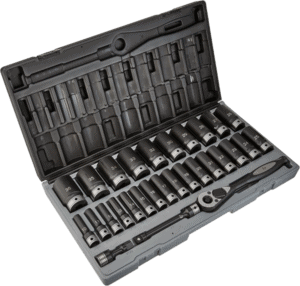 Grey Pneumatic 82629MD 27 pcs 1 2 in metric impact socket sets with hand ratchet