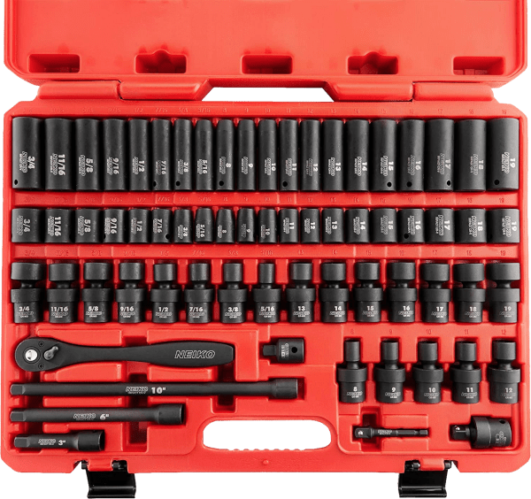 Neiko 02440A 67 pcs 3 8 in SAE metric impact socket sets with hand ratchet
