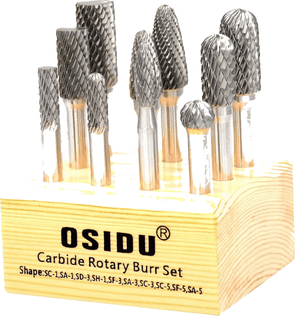 Osidu 10 pcs 1 4 inch shank double cut tungsten carbide burr bits
