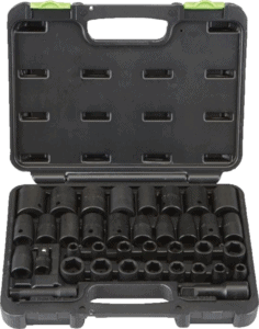 Pittsburgh 68011 34 pcs 3 8 in and 1 2 in SAE metric impact socket sets