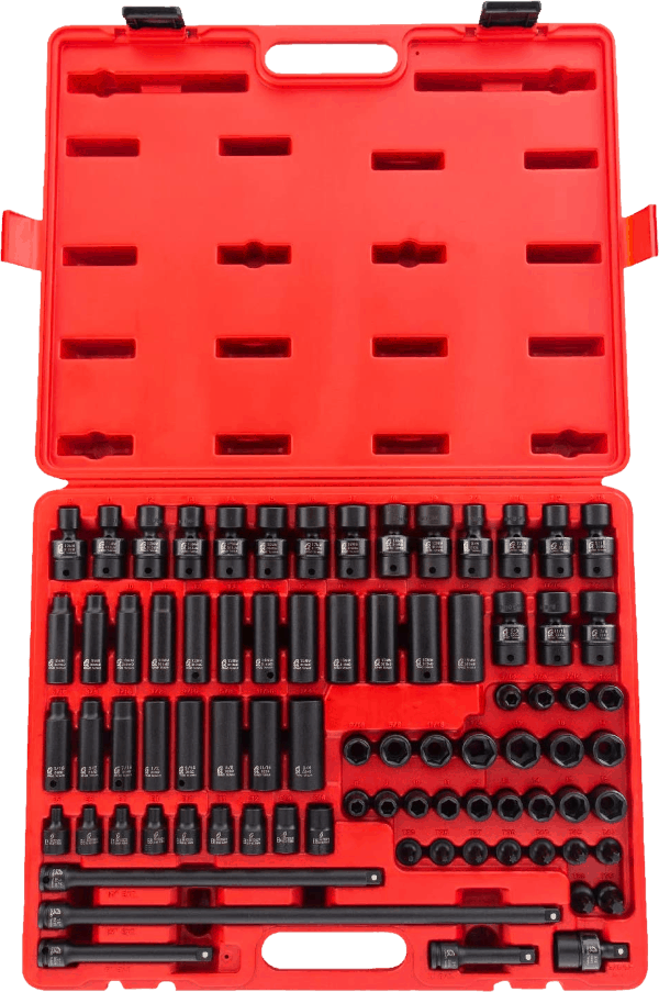 Sunex 3580 80 pcs 3 8 in SAE metric impact socket sets with hand ratchet
