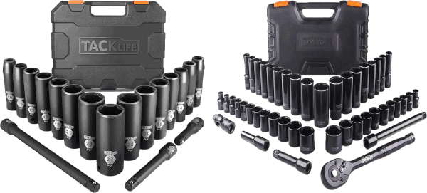 Tacklife 49 pcs 3 8 in and 1 2 in SAE metric socket sets