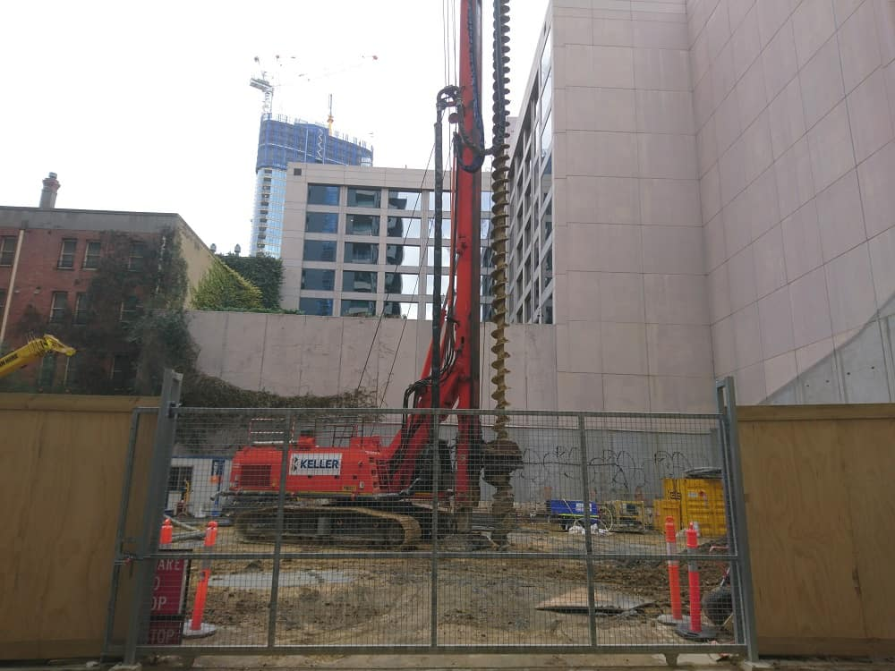 Drilling the ground for buildings foundation