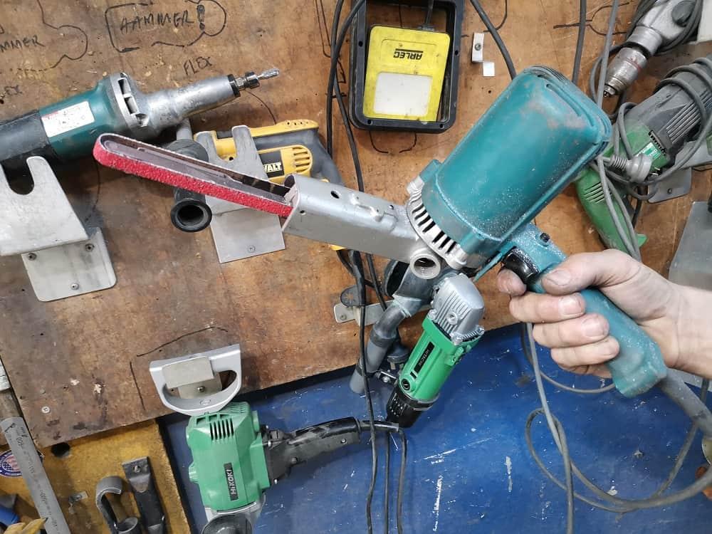 File belt sander ready to sand