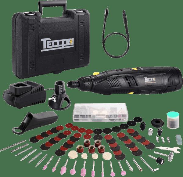 TECCPO TDRT03P 80pcs 5 000 to 28 000 rpm 12V cordless rotary tool kit