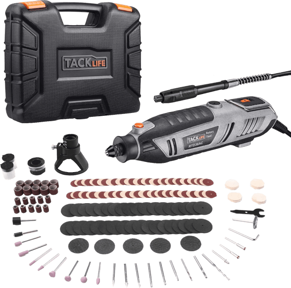 Tacklife RTD36AC 170 pcs 10 000 to 40 000 rpm 1 8 amp rotary tool kit