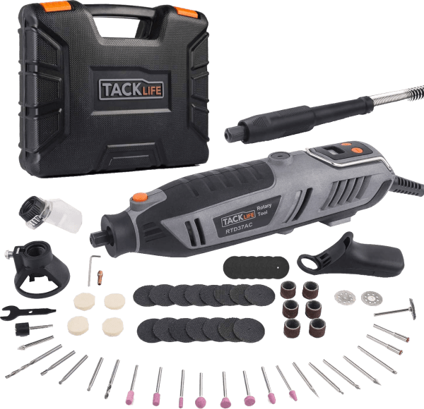 Tacklife RTD37AC 61 pcs 10 000 to 40 000 rpm 1 8 amp rotary tool kit
