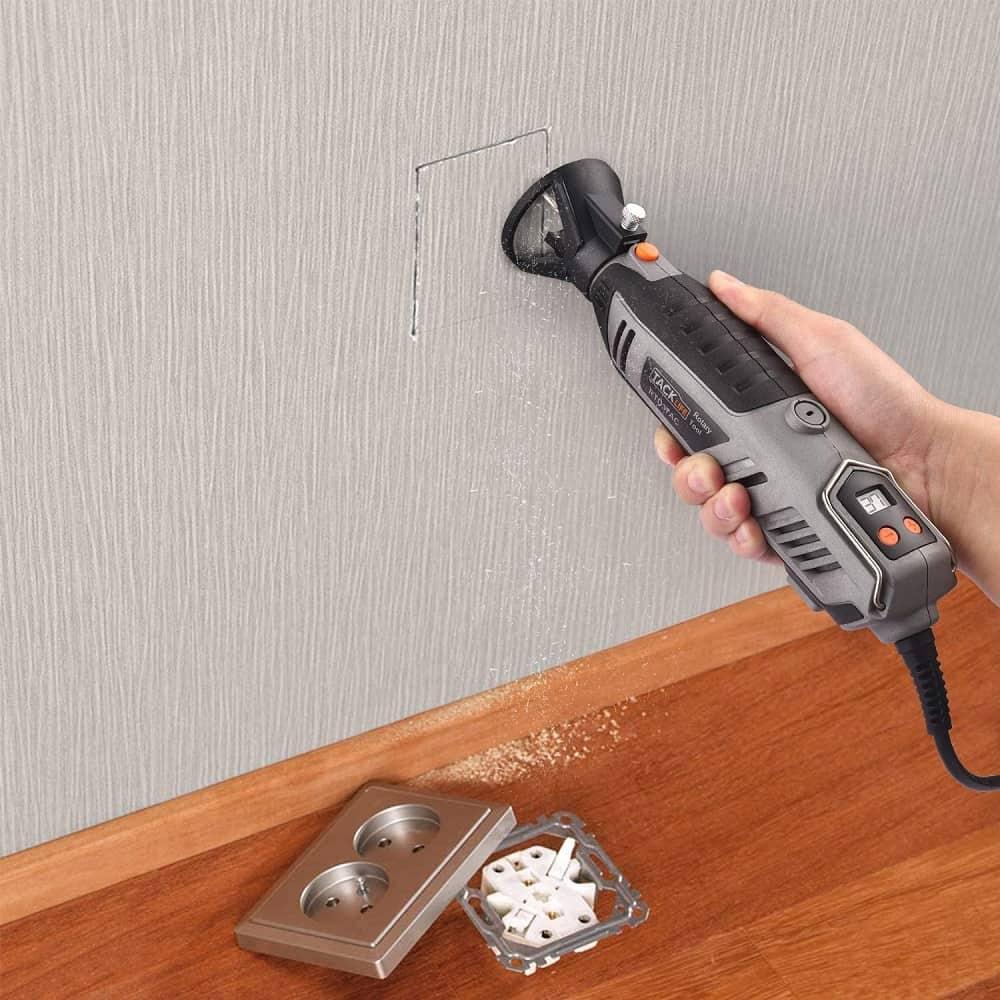 Tacklife rotary tool kit cutting dry wall
