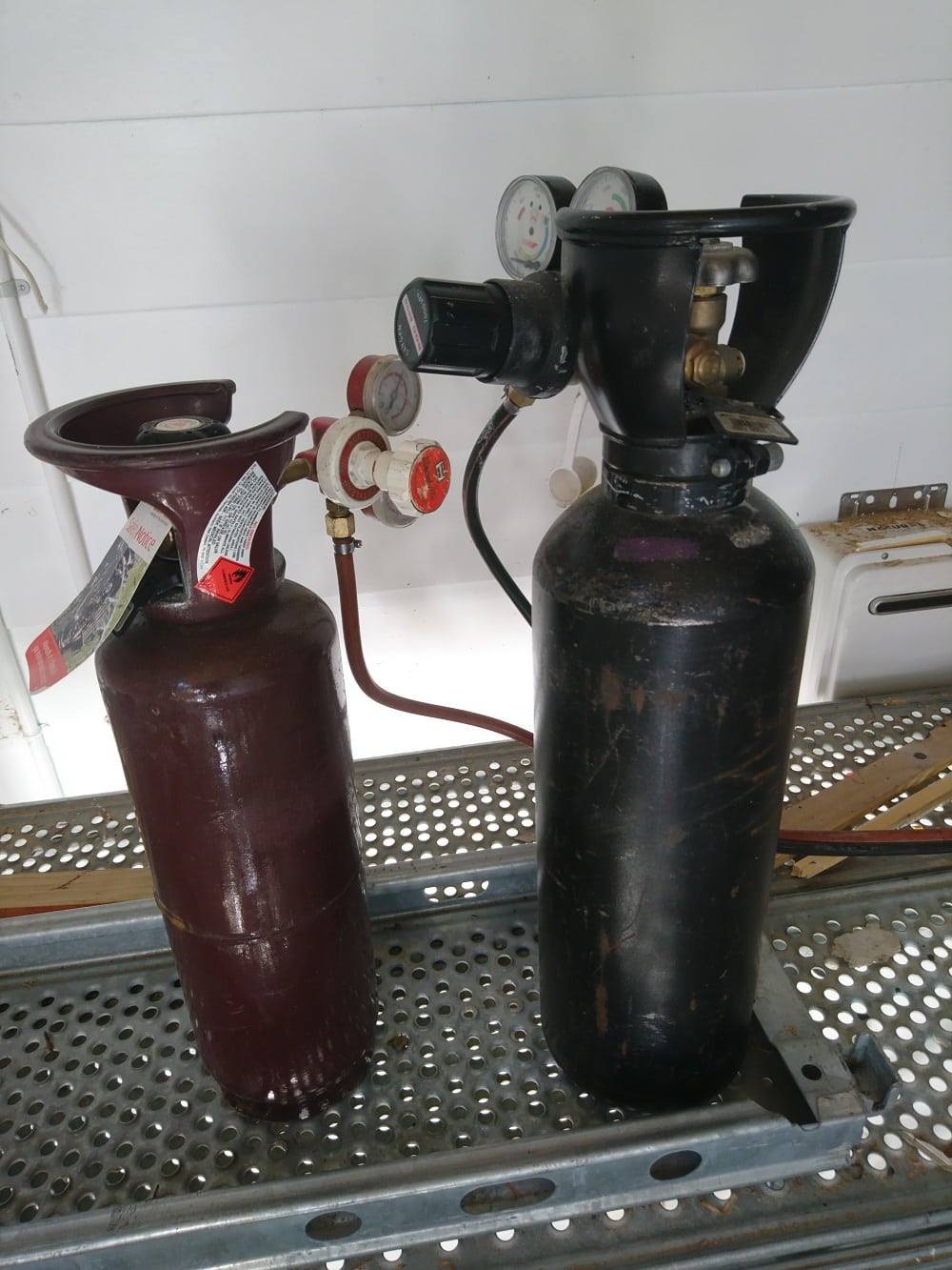 Oxy acetylene torch set up on building site