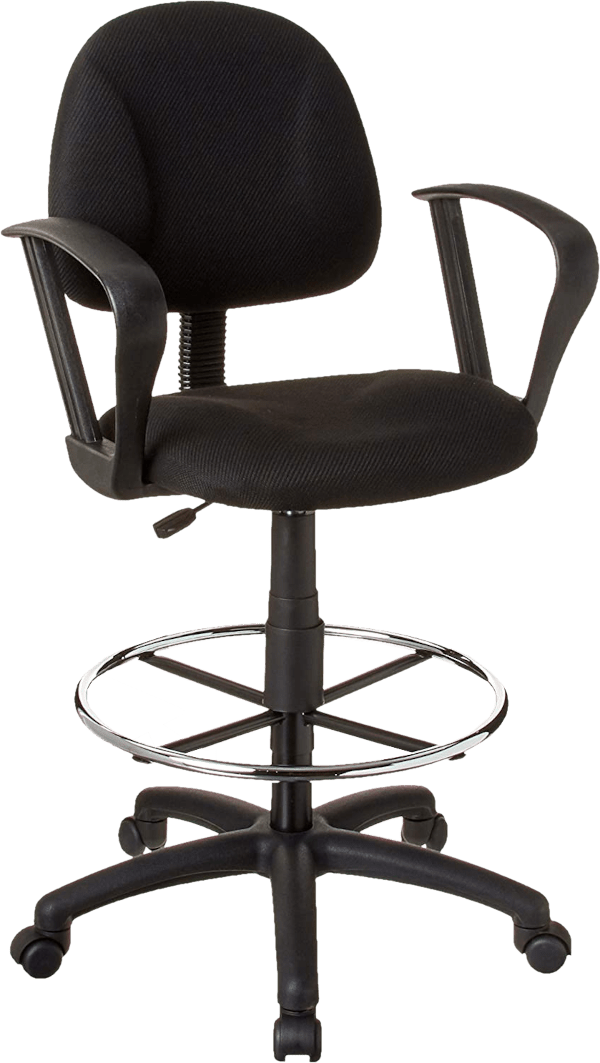 Boss office B315 BK 275 lbs tweed seat nylon loop arm drafting chair