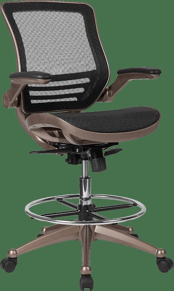 Flash furniture black mesh 300 lbs flip up arm drafting chair