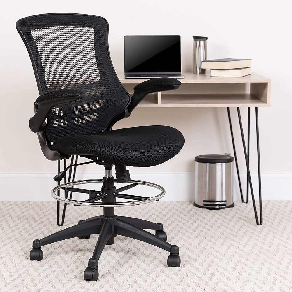 Flash furniture leather and adjustable office drafting chair