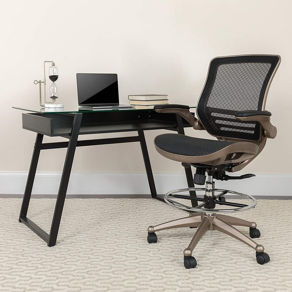 Flip up arm drafting chair for office