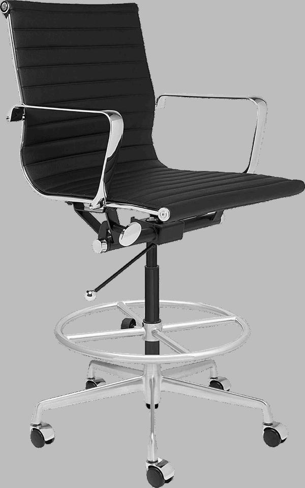 Laura davidson soho 400 lbs vegan leather seat aluminum loop arm drafting chair
