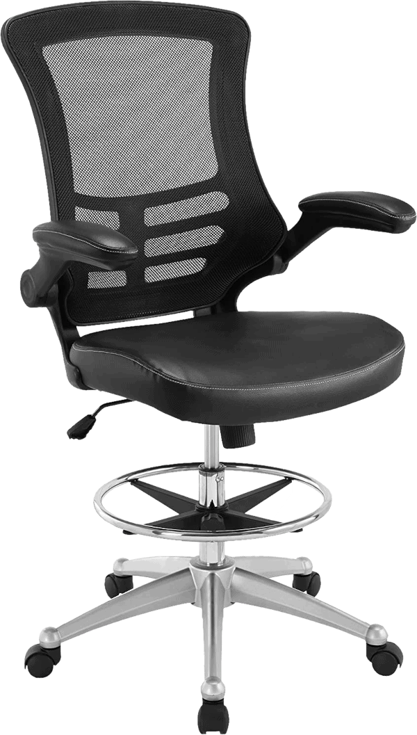 Modway EEI 1422 BLK 330 lbs vinyl seat padded flip up arm drafting chair