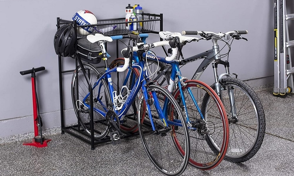 Parked bikes on Birdrock bike stand with shelves