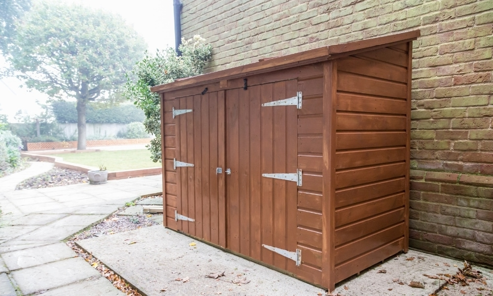 A small garden tool shed